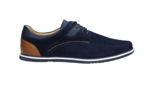 Navy Blue and Brown Leather Shoes | 1002776