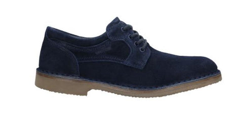 Navy Blue Velour Leather Shoes | 1001366
