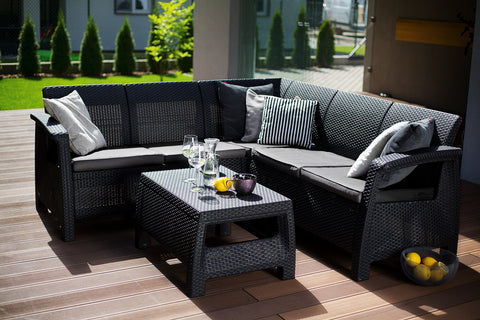 6-piece Technorattan Outdoor Dining Set with Cushions | CORFU