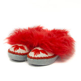 Light Gray Folk Slippers with Red Fluffy Cuff | K-261