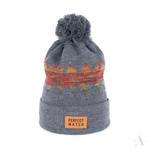 Gray Winter Pom-Pom Beanie Perfect Match Patch  | 18334-1