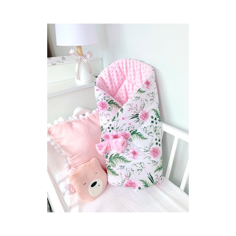"Pink and White Double-Sided Baby Swaddle Wrap ""Rożek"" 