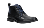 Black and Navy Blue Leather Winter Ankle Boots | 917071