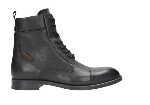 Black Leather Winter Ankle Boots |  822451