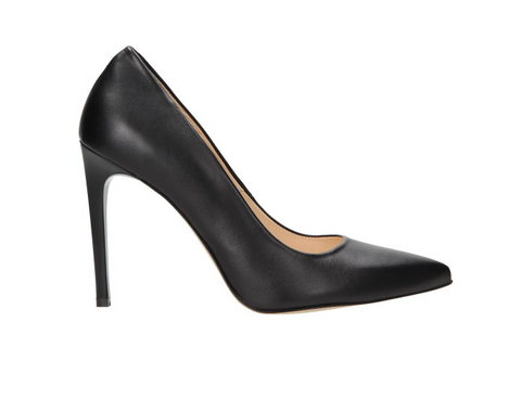 Black Leather High Heels | 835751