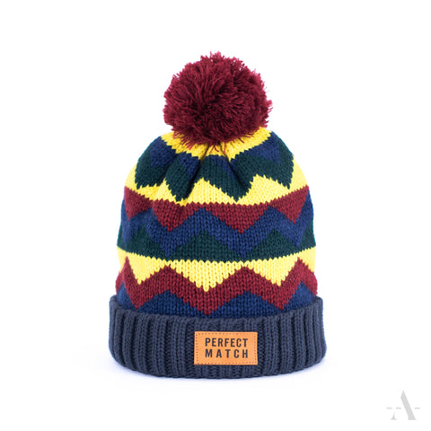 Navy Blue Winter Pom-Pom Beanie Perfect Match Patch  | 18336-1