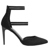 Black Leather High Heels with Straps | 935461