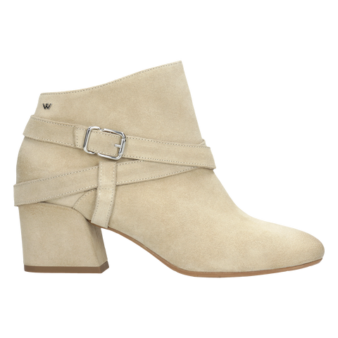 Beige Leather Ankle Boots with Straps | 5500564