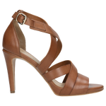 Light Brown Leather Open Toe High Heels | 7604553
