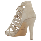 Beige Leather Open Toe High Heels | 7605464