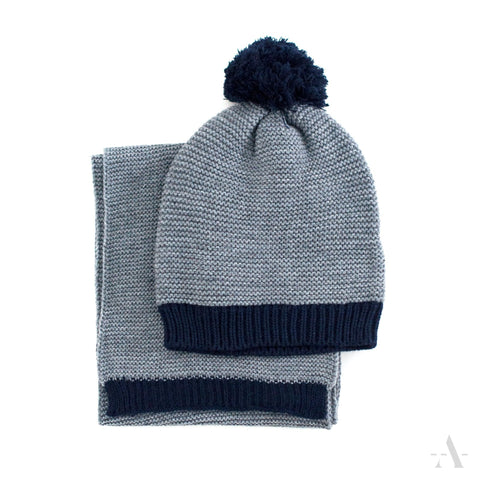 Gray And Black Pom Beanie With Scarf | 15519-1