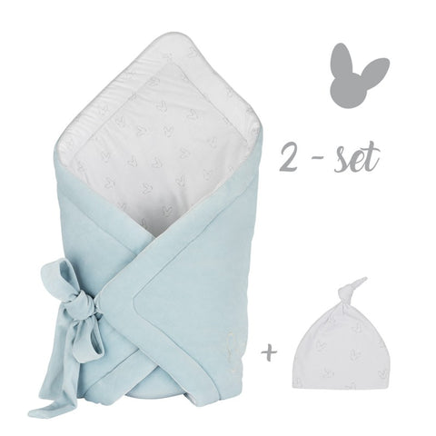 "Blue Swaddle Wrap & Beanie Set ""Rożek"" 
