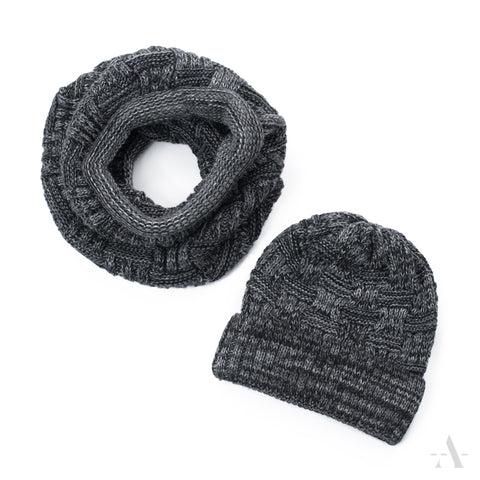 Dark Graphite Beanie With Neck Warmer | 19802-1