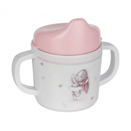 Light Gray and Light Pink Melamine Sippy Cup | KTB