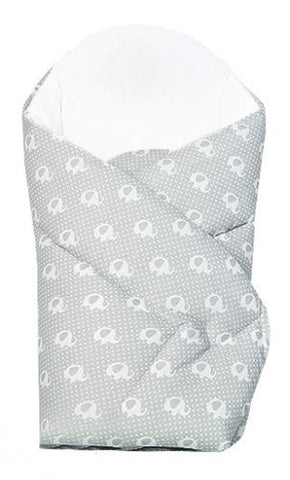 "Gray and White Baby Swaddle Wrap with Elephant Pattern and Extra Back Support ""Rożek"" 