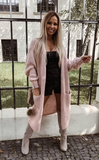 Dusty Pink Fuzzy Knitted Cardigan | MIA