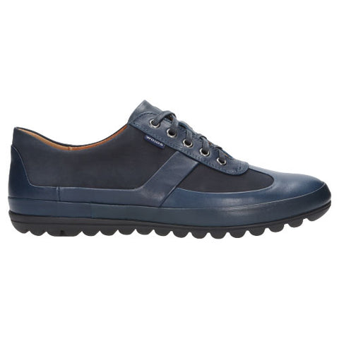 Navy Blue Leather Sneakers | 802876