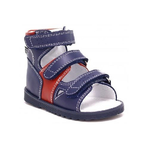 Navy Blue and Red Leather Sandals | 81804-0/N9A