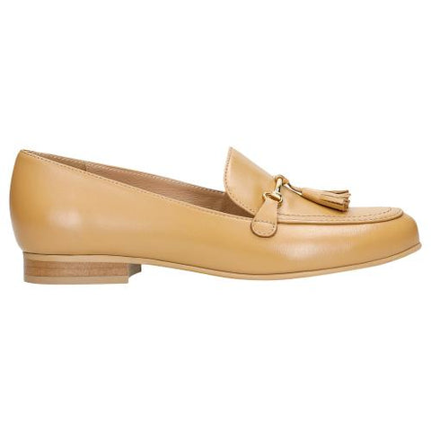 Dark Beige Leather Loafers with Fringes | 4607554