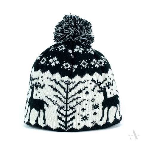 Black And White Scandinavian Style Winter Pom-Pom Beanie  | 13107-1