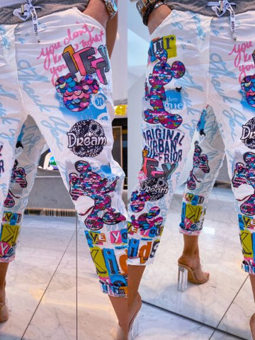 White Printed Pants | MYL-006