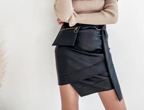 Black Eco Leather Skirt | LU- 44101