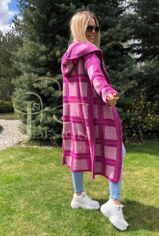 Pink Knitted Plaid Hooded Cardigan | KIM