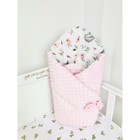 "Pink and White Double-Sided Printed Baby Swaddle Wrap ""Rożek"" 