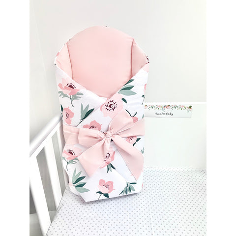 "Pink and White Baby Swaddle Wrap with Flower Pattern and Extra Back Support ""Rożek"" 