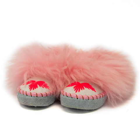 Light Gray Folk Slippers with Light Pink Fluffy Cuff | K-259