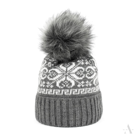 Gray Winter Faux Fur Pom-Pom Beanie  | 20816-1