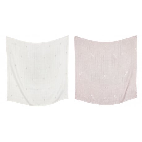 Set of 2 Hearts and Deer Pattern Bamboo Swaddles | O70B2
