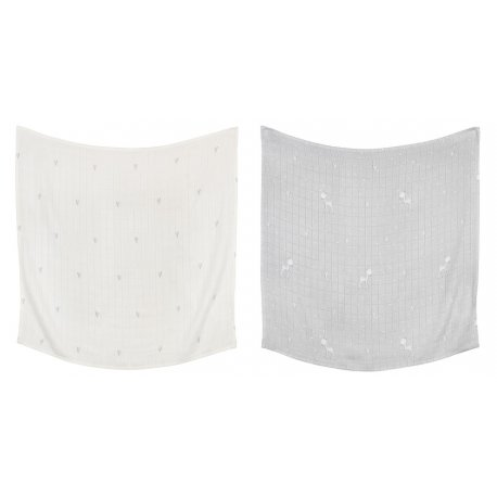 Set of 2 Hearts and Deer Pattern Bamboo Swaddles | O70B