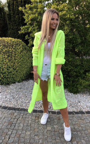 Neon Yellow Knitted Hooded Cardigan | GRETA