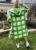 Neon Green and Gray Knitted Plaid Hooded Cardigan | KIM