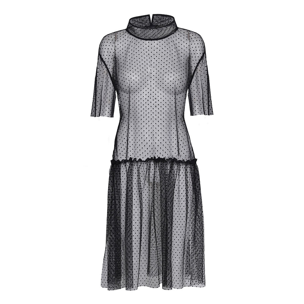 Lightweight velvet dotted mesh dress with standing collar.