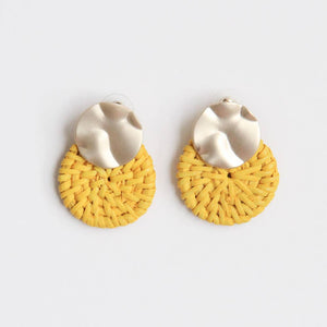 gold & yellow rattan earrings