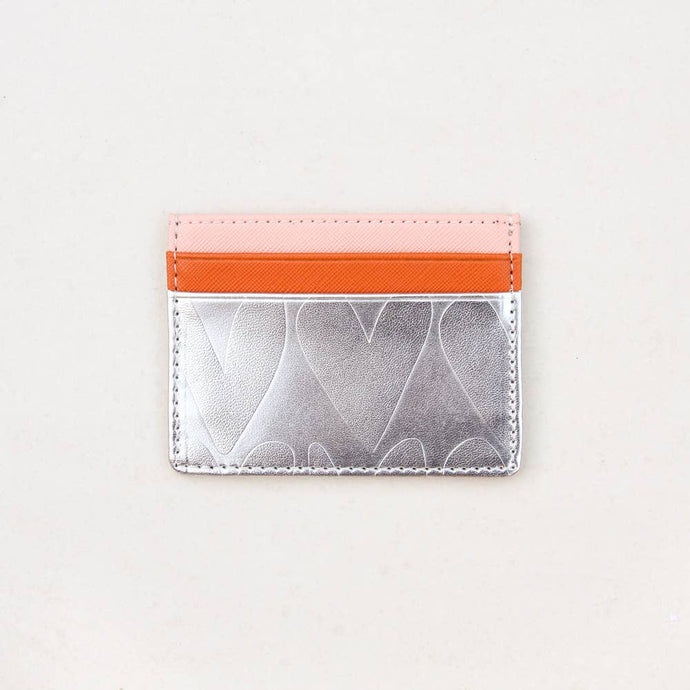 silver hearts card holder