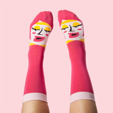 Funny Socks with an Illustrated Pink Character