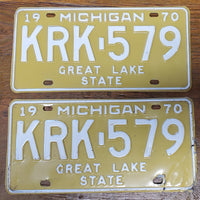 1970 Matching Set Michigan License Plates KRK-579