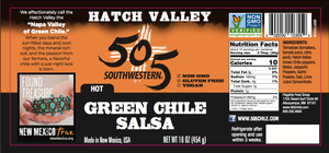 Hatch Valley Green Chile Salsa - 16oz - HOT - 6 Pack Case