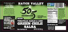 Load image into Gallery viewer, Hatch Valley Tomatillo Garlic & Lime Salsa 16oz - MEDIUM - 6 Pack Case