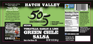 Hatch Valley Tomatillo Garlic & Lime Salsa 16oz - MEDIUM - 6 Pack Case