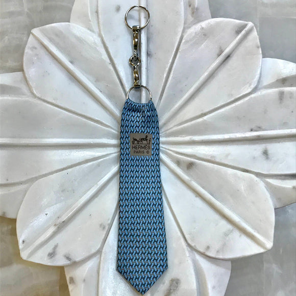 light and dark blue Hermes tie designer keychain