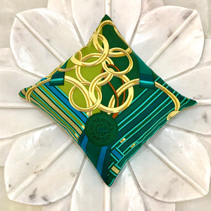 golden rings green Hermes paris scarf designer sachet