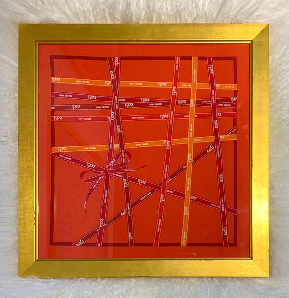 framed Hermes scarf Bolduc ribbons red orange