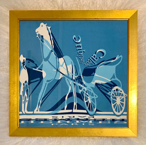 framed Hermes scarf designer luxury man, horse, and carriage blue white