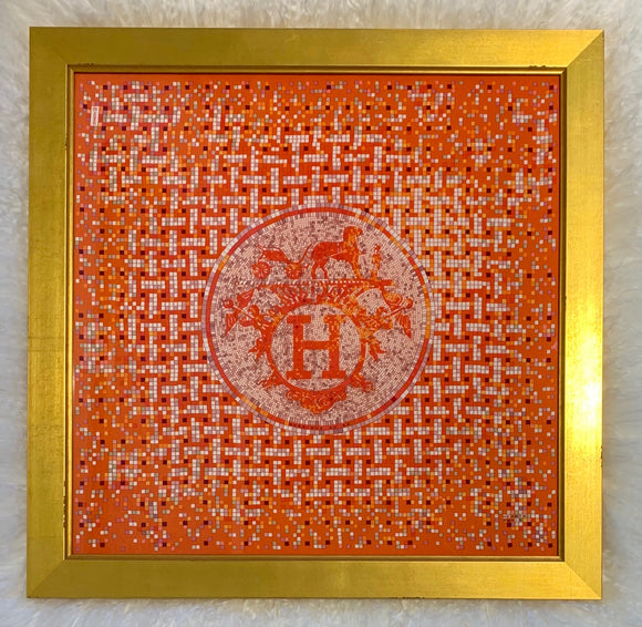 Mosaique au 24 orange framed luxury Hermes scarf