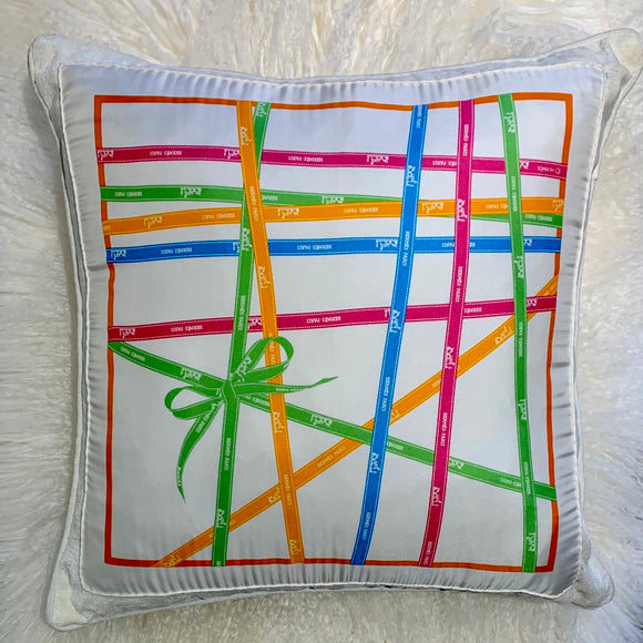 blue pink green yellow Bolduc Hermes ribbon scarf designer pillow