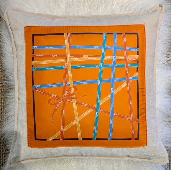 Hermes Bolduc ribbons orange blue designer pillow